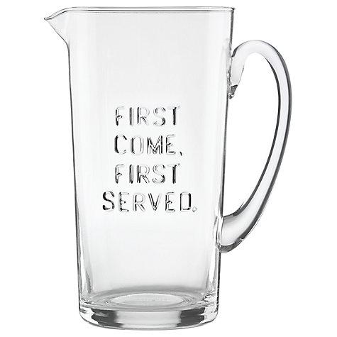 &#8216;First Come, First Served&#8217; Glass Pitcher</a>  </div>     </div>   <div class=