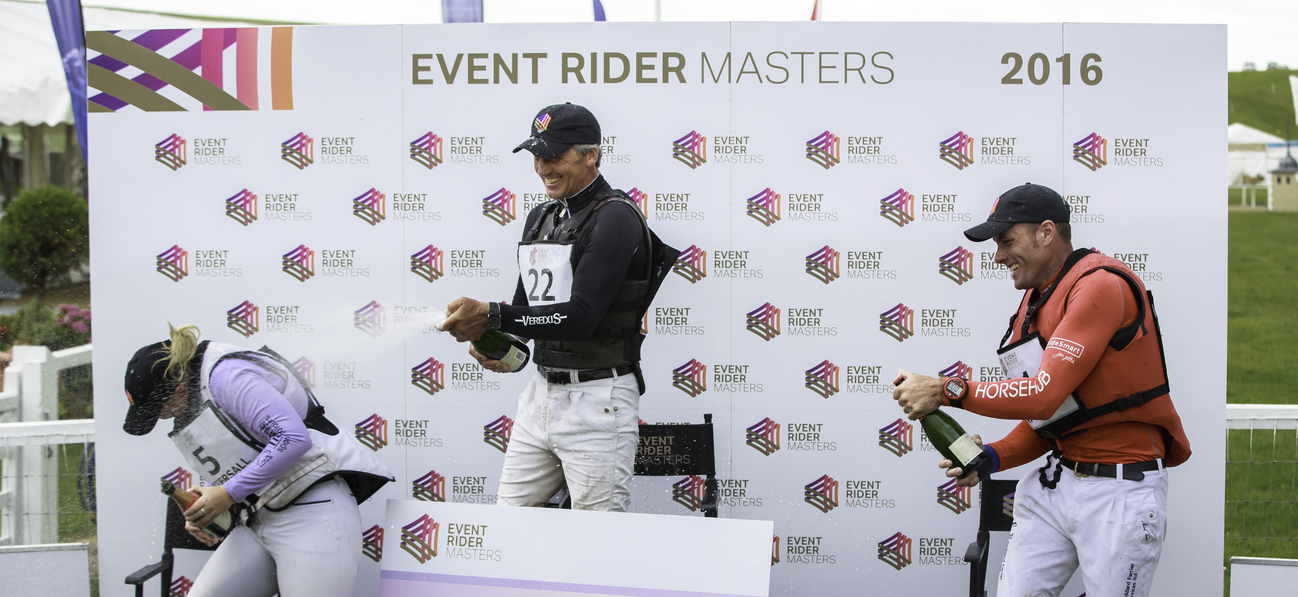 L-R Top three on the ERM podium Gemma Tattersall, Andrew Nicholson and Paul Tapner © Libby Law Photography & Eventridermasters.tv