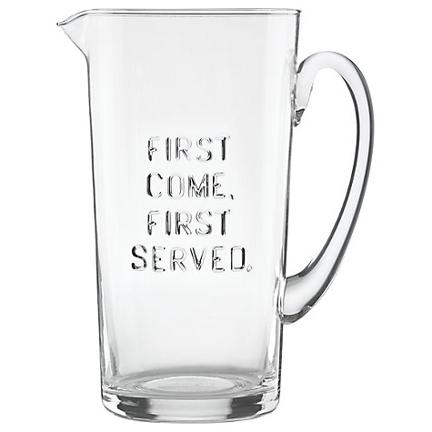&#8216;First Come, First Served&#8217; Glass Pitcher</a>