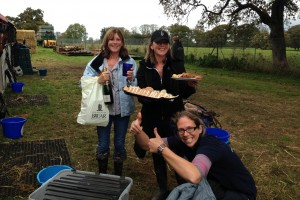 Twins Sheena (left - who's blood cancer has inspired this years charity fundraiser) & Lesley (right) bring celebratory snacks at Aldon International after a good xc day! (Sue Tomlinson in the foreground)
