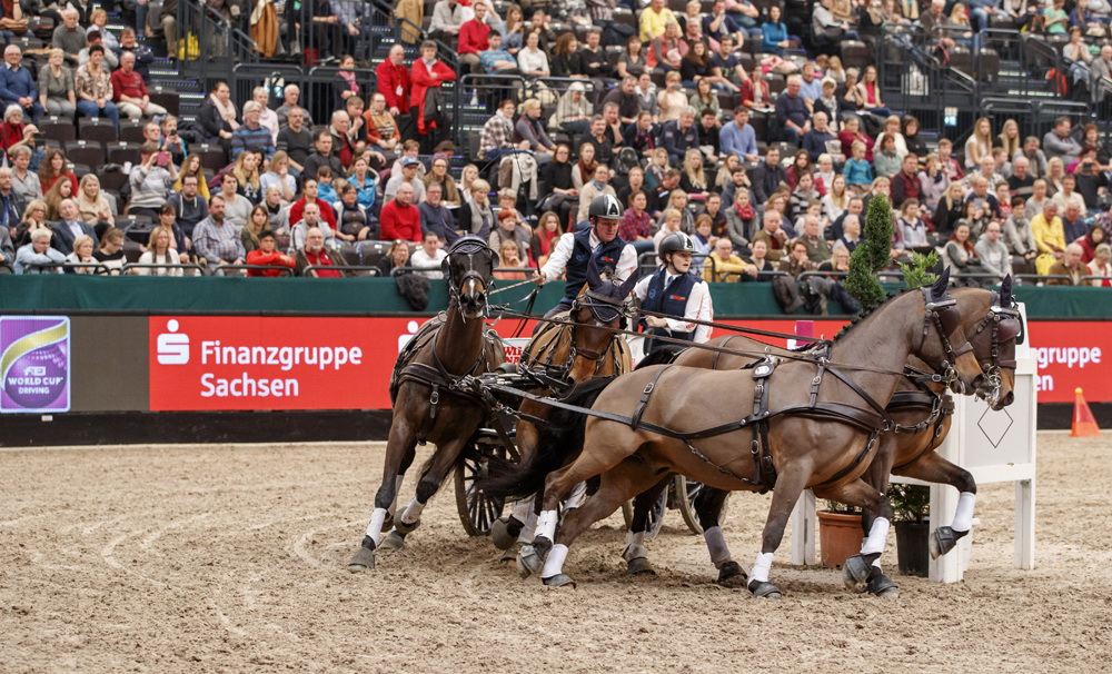 The 1st place for Boyd Exell (AUS) and his Four-in-Hand team in the FEI World Cup™ Driving qualification, Leipzig - Partner Pferd 2017  © FEI/Stefan Lafrentz