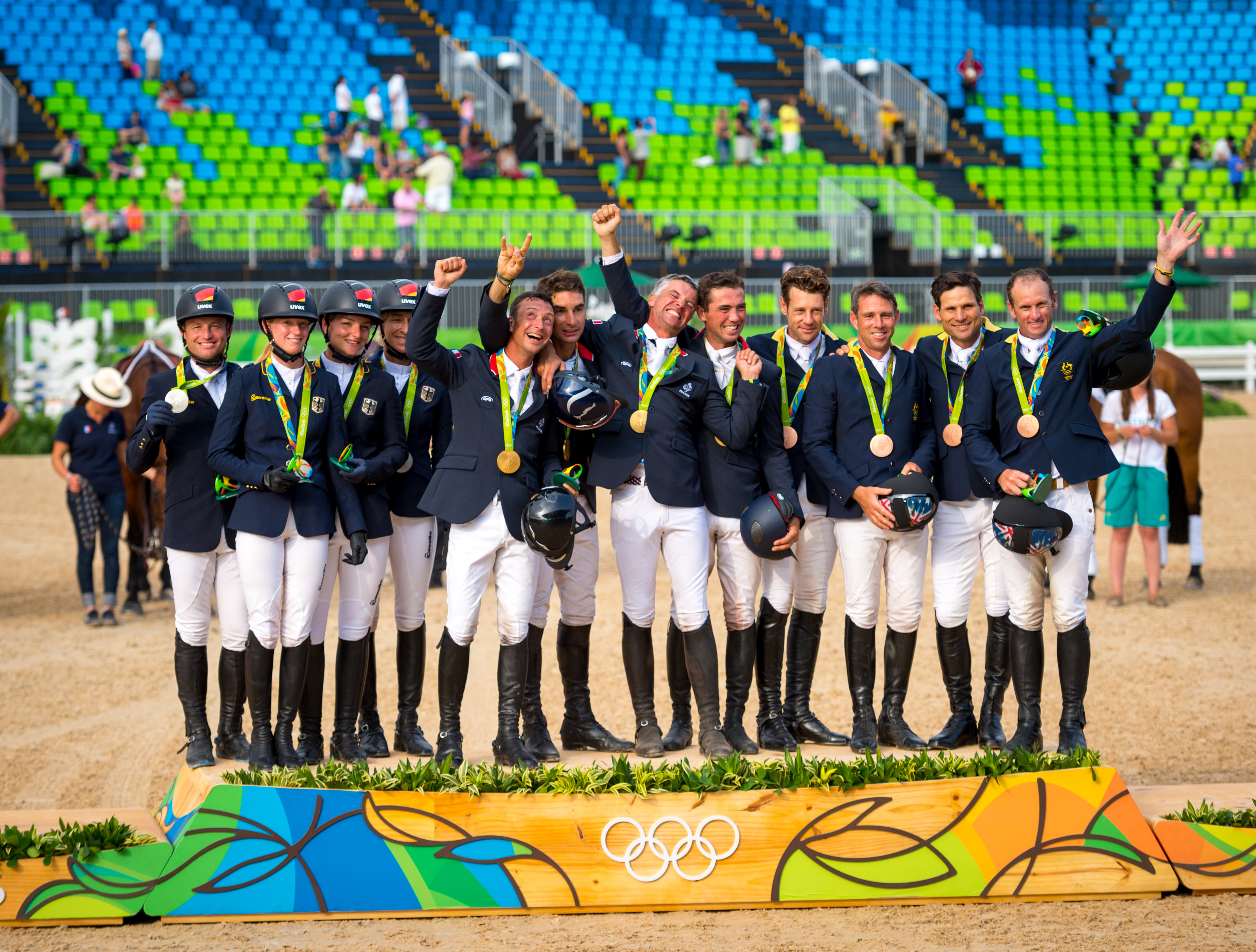 Team Podium, Left to right Team Germany Silver,France Gold, New Zealand Bronze. Photo Arnd Bronkhorst