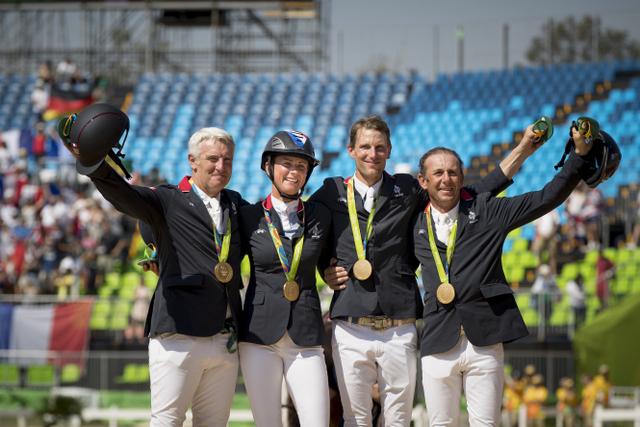 Roger Yves Bost, Penelope Leprevost, Kevin Staut and Philippe Rozier secured Olympic Jumping team gold for France for only the second time in the history of the Games at Deodoro Olympic Park in Rio de Janeiro (BRA) today. © Dirk Caremans/FEI