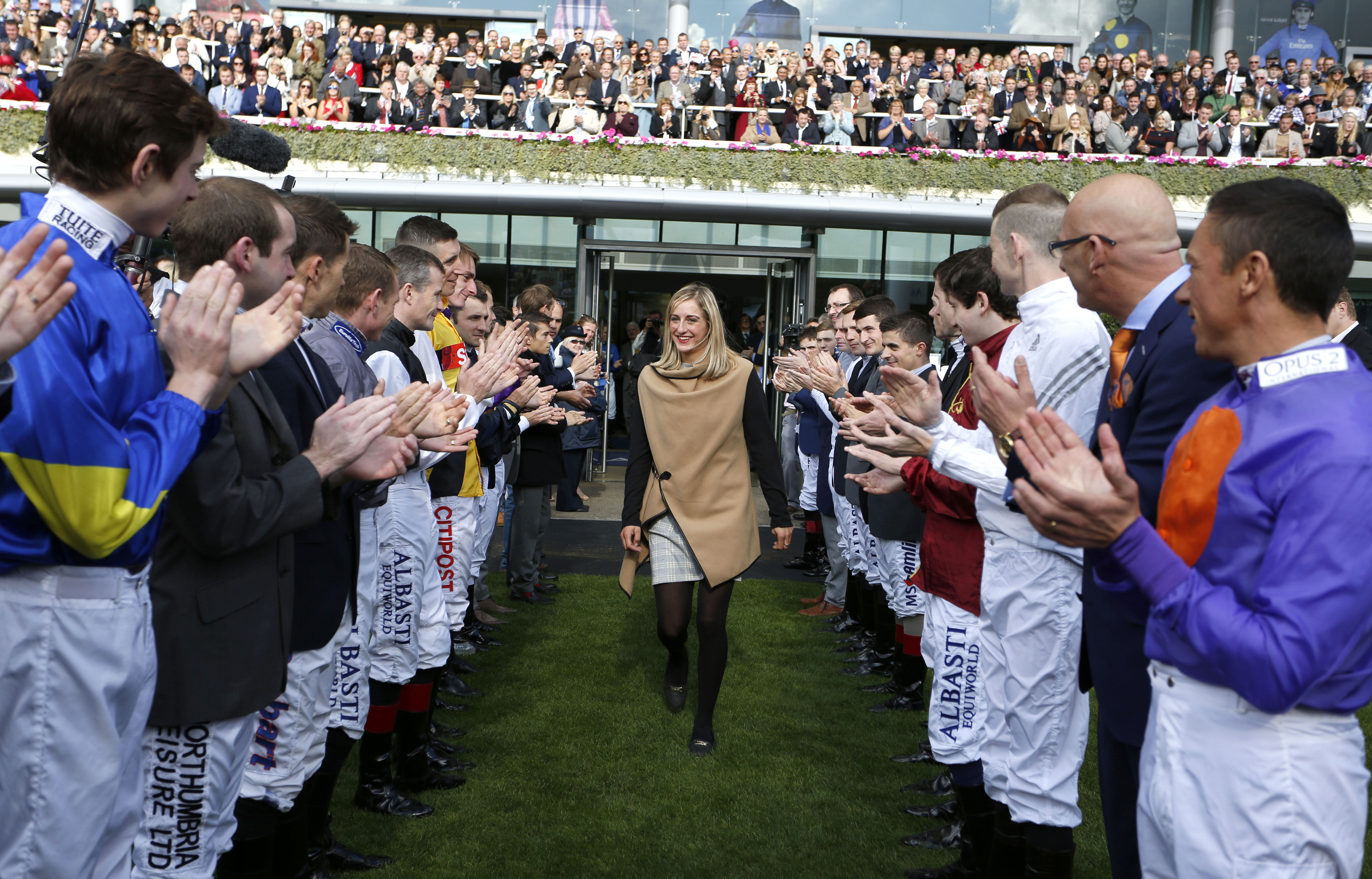 Josephine Gordon with her guard of honour for Stobart Champion Apprentice Ascot © Great British Racing & Racing Fotos