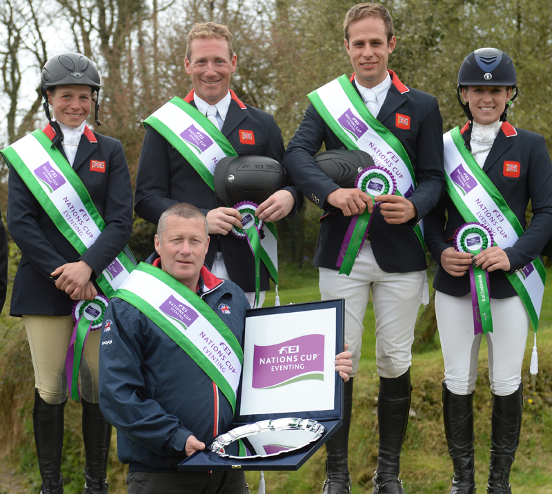Winners of the FEI Nations Cup Eventingª qualifier at ballindenisk Ireland was the Great Britain team of Izzy Taylor,Oliver Townend, Wills Oakden and Franky Reid-Warrllow, with Chef D'equipe Philip Serle. © Tony Parkes.