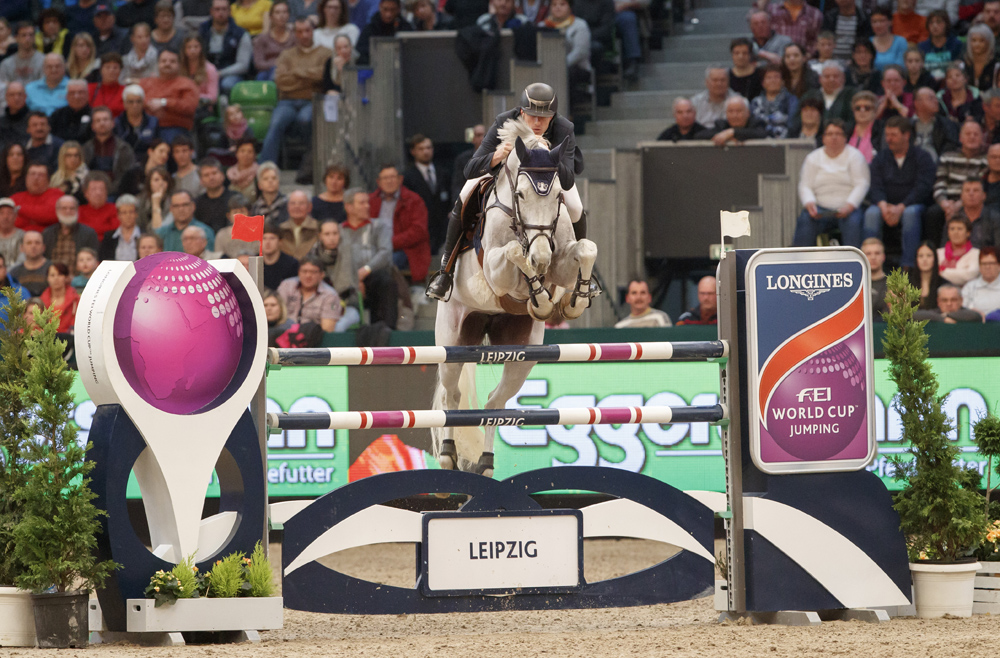 European individual silver medallist, Gregory Wathelet from Belgium, steered the lovely grey mare, Coree, to victory at the tenth leg of the Longines FEI World Cup™ Jumping 2016/2017 Western European League in Leipzig, Germany today. © Stefan Lafrentz/FEI