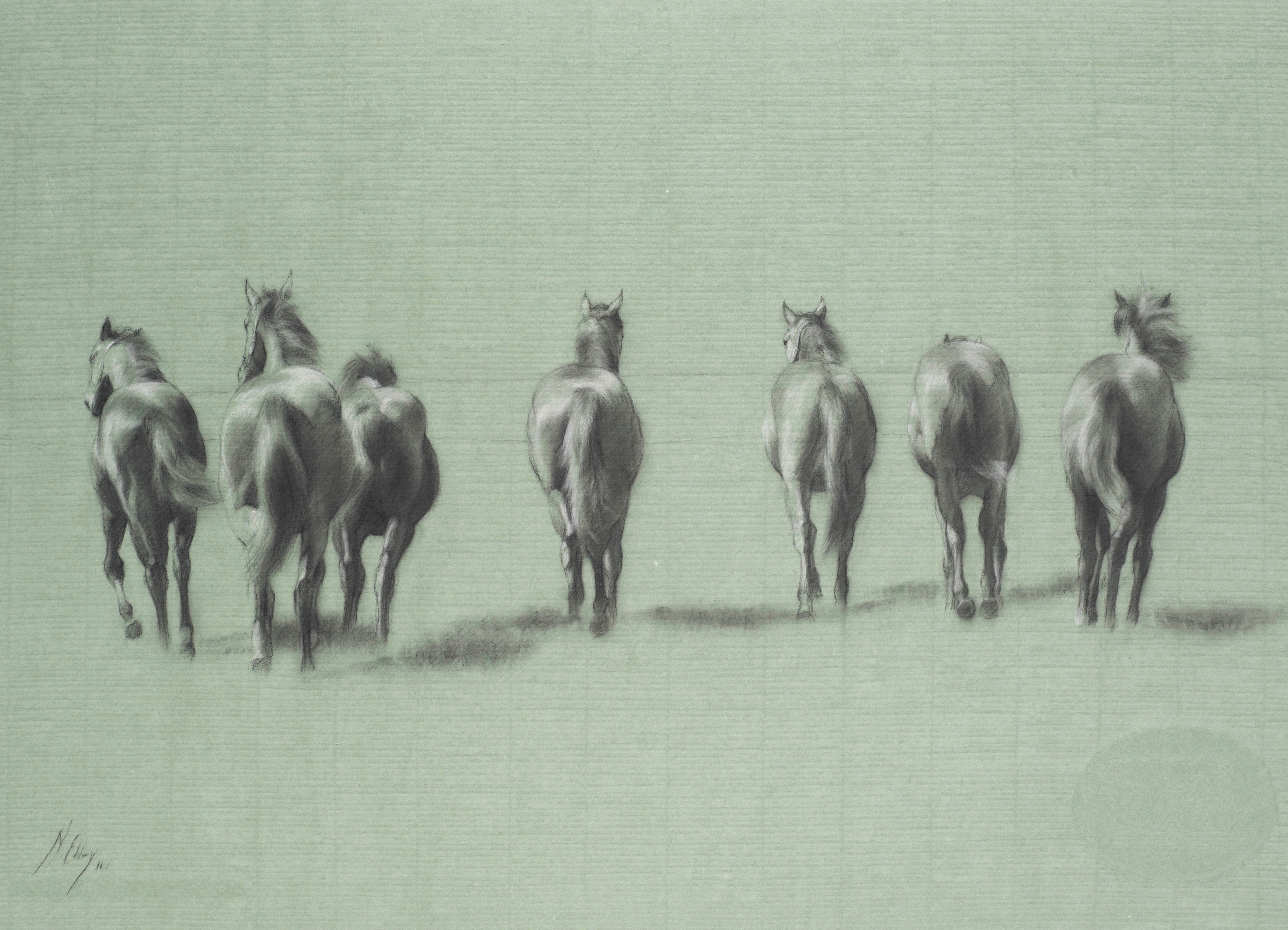Harmonic fillies charcoal and chalk on green paper