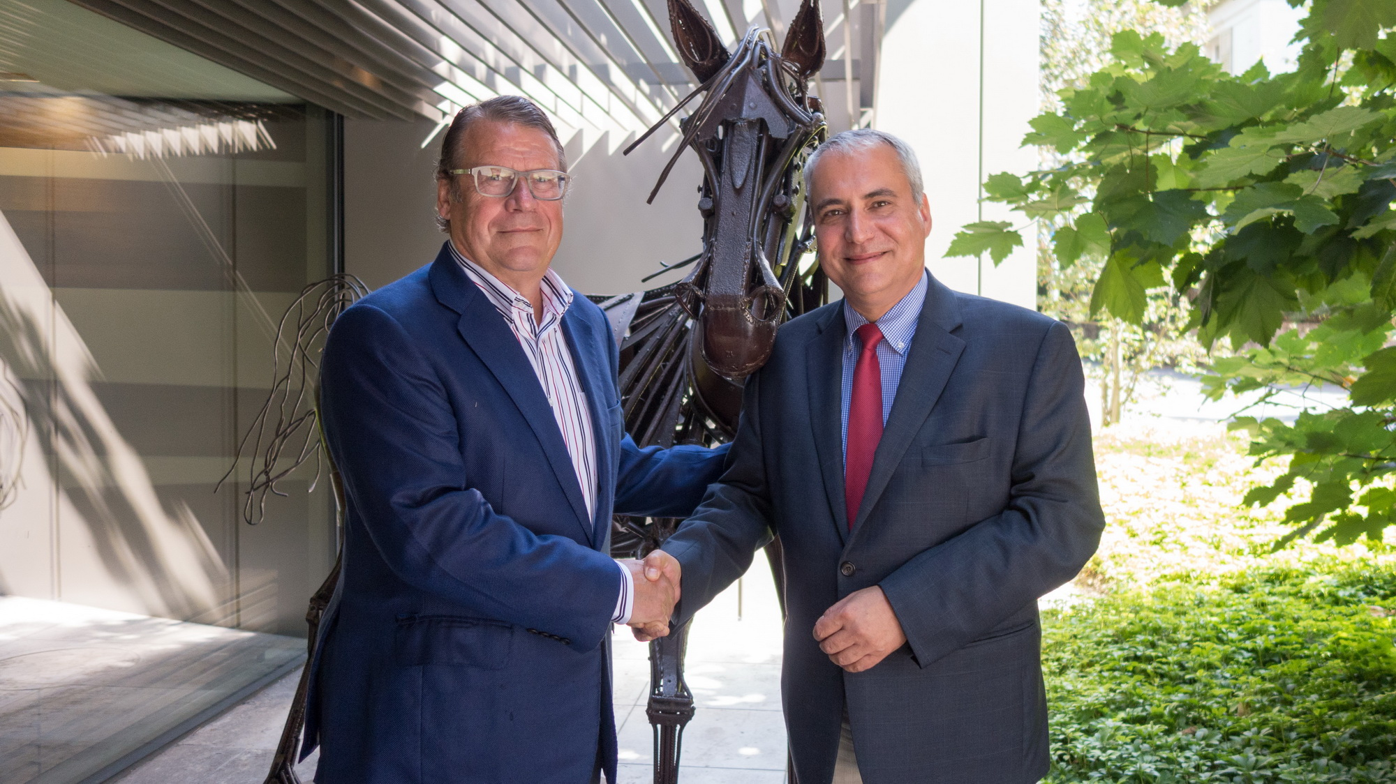 Christian Baillet, President of the Jumping Owners Club and FEI President Ingmar De Vos at the FEI Headquarters in Lausanne. (SUI)