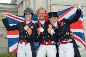 Great Britain's Gold Medal winning Dressage Team (L-R) Charlotte Dujardin, Carl Hester, Laura Bechtolsheimer - Dressage Grand Prix Special - London 2012 Olympic Games (c) Jon Stroud
