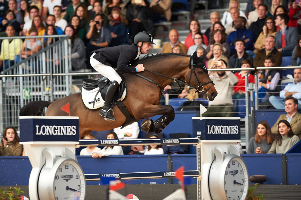 Germany's Marcus Ehning produced a breath-taking jump-off round with the stallion Comme Il Faut to win the sixth leg of the Longines FEI World Cup™ Jumping 2016/2017 Western European League in Madrid, Spain today. © Hervé Bonnaud/FEI