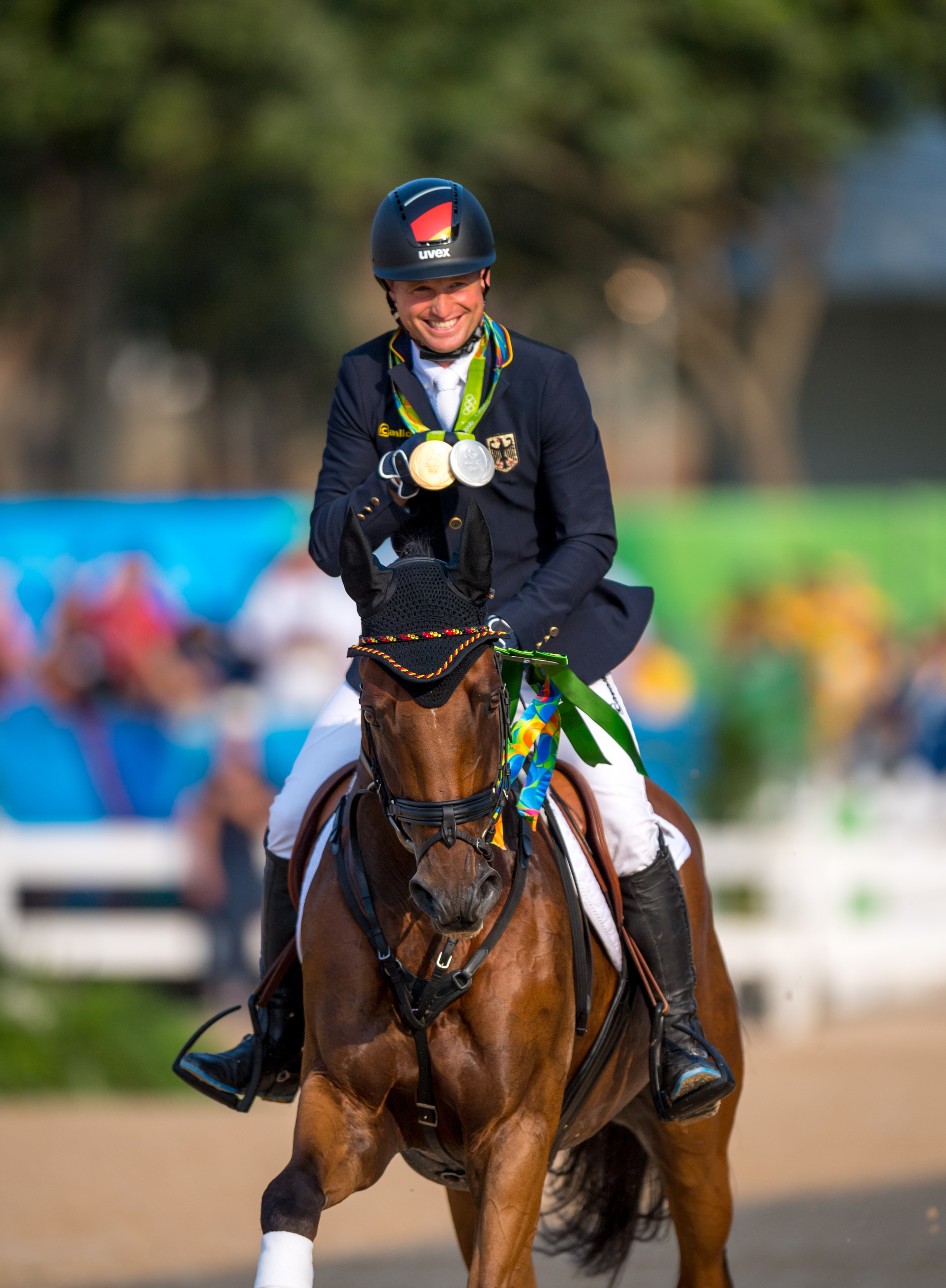 Gold Individual and Silver team Medalist, Michael Jung of Germany Pic Arnd Bronkhorst