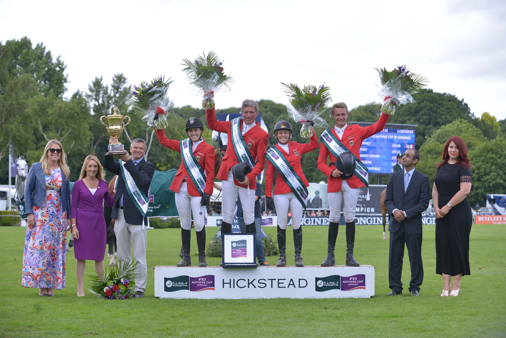 (L to R) Daisy Bunn, Director of Hickstead Clare Salmon, Chief Executive British Equestrian Federation, German Chef d'Equipe Otto Becker, team members Janne Friederike Meyer, Ludger Beerbaum, Meredith Michaels-Beerbaum and Patrick Stuhlmeyer, Fawaz Al Shubaili, First Secretary Saudi Arabian Embassy and Roxanne Tierney, PR Manager Longines UK/Ireland. © FEI/Sebastian Oakley