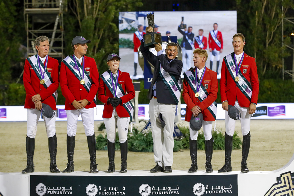 Team Germany, Furusiyya FEI Nations Cup™ 2016 champions, on the podium in Barcelona (ESP) tonight: (L to R) Ludger Beerbaum, Christian Ahlmann, Janne Friederike Meyer, Otto Becker (Chef d'Equipe), Marcus Ehning and Daniel Deusser. © Dirk Caremans/FEI