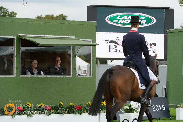 Burghley House, Stamford, UK, 4th September 2015. BBC Cricket Correspondent Jonathan Agnew watches William Fox-Pitt prepare for his dressage test at Burghley Horse Trials as he prepares for his role as commentator for the equestrian sports at the Rio Olympics.