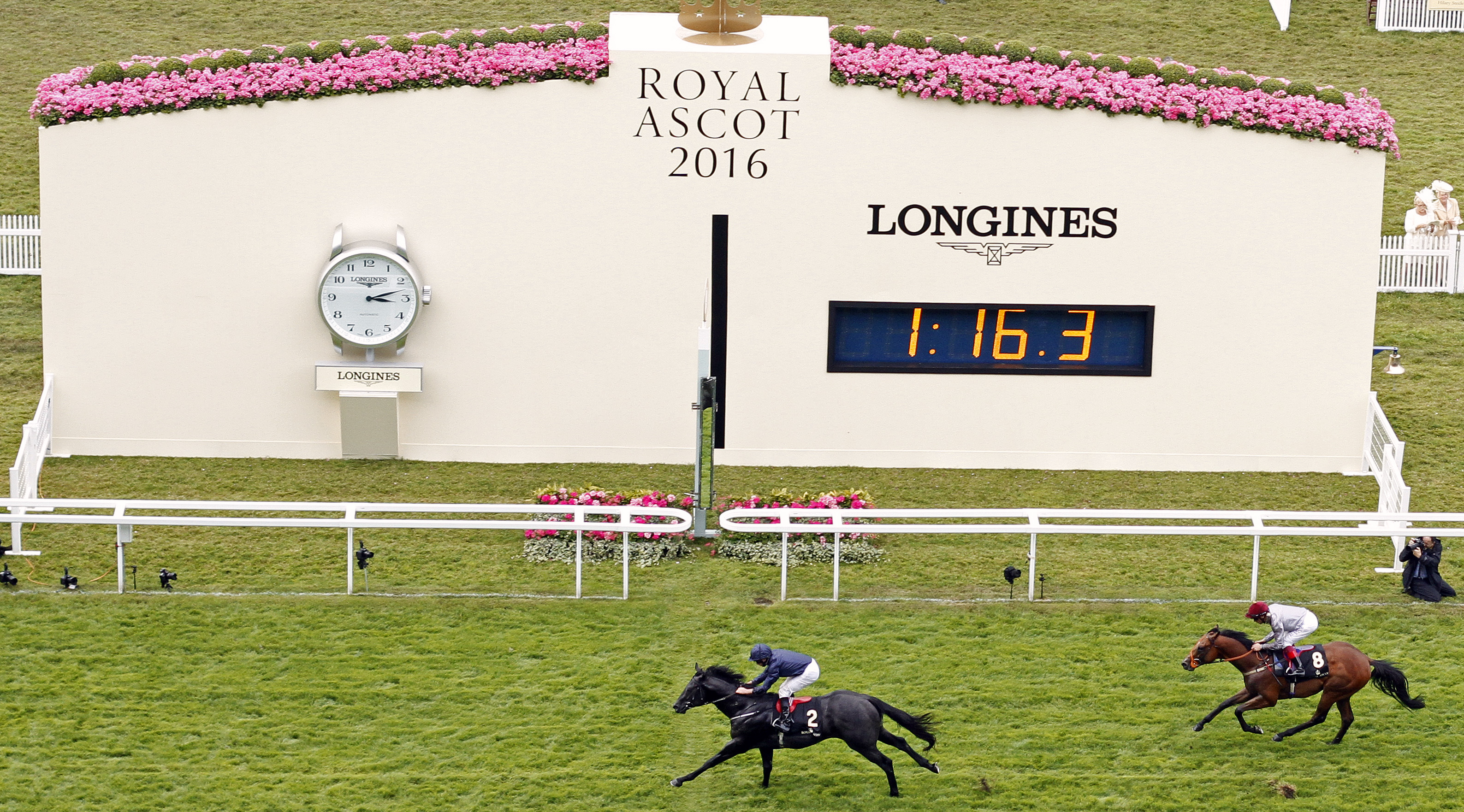 Caravaggio, ridden by Ryan Moore, won The Coventry Stakes.
