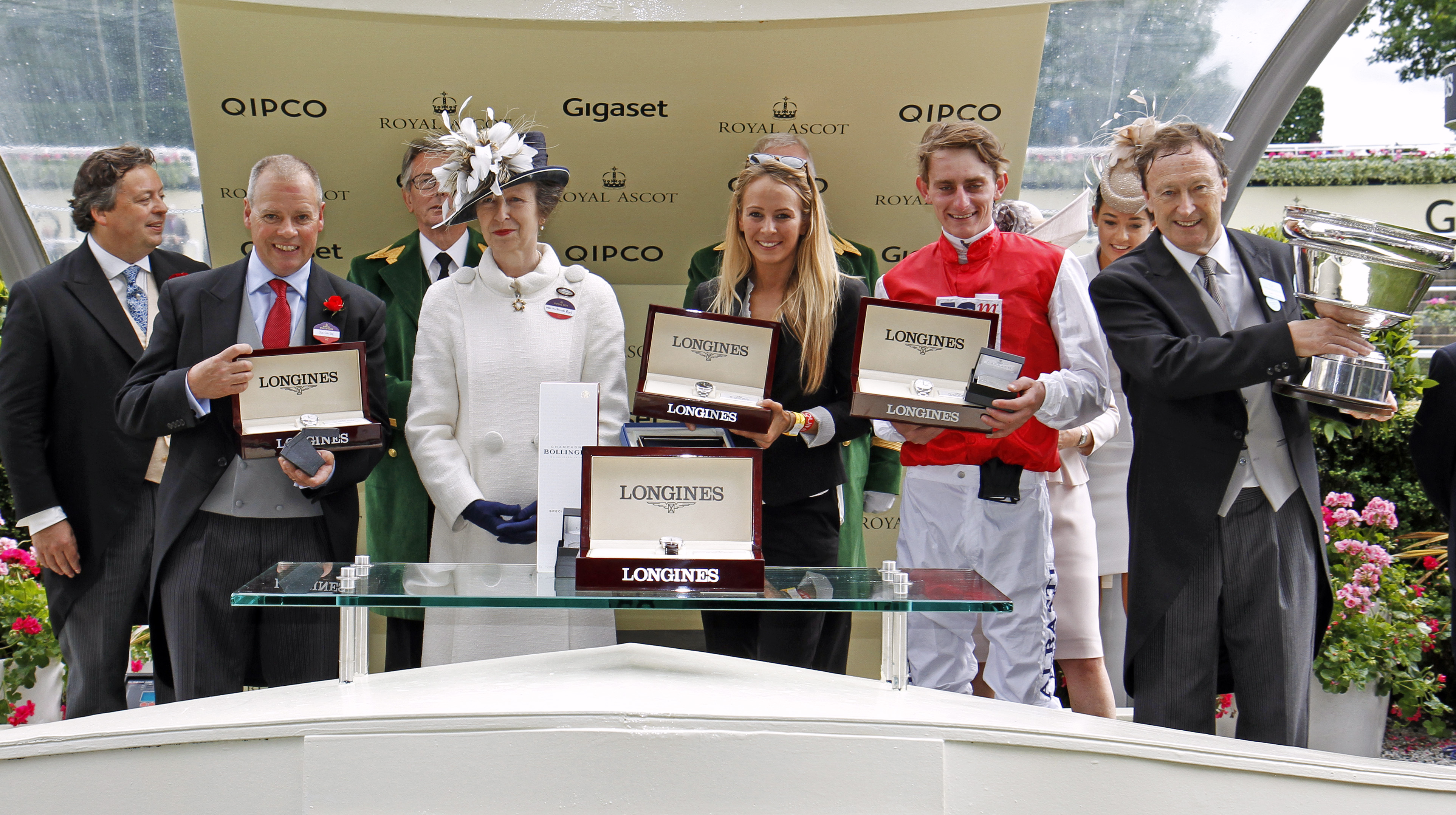 Presentation by The Princess Royal to Alan Spence, Adam Kirby and Clive Cox for The King's Stand Stakes won by PROFITABLE Royal Ascot 14 Jun 2016 - Pic Steven Cargill / Racingfotos.com
