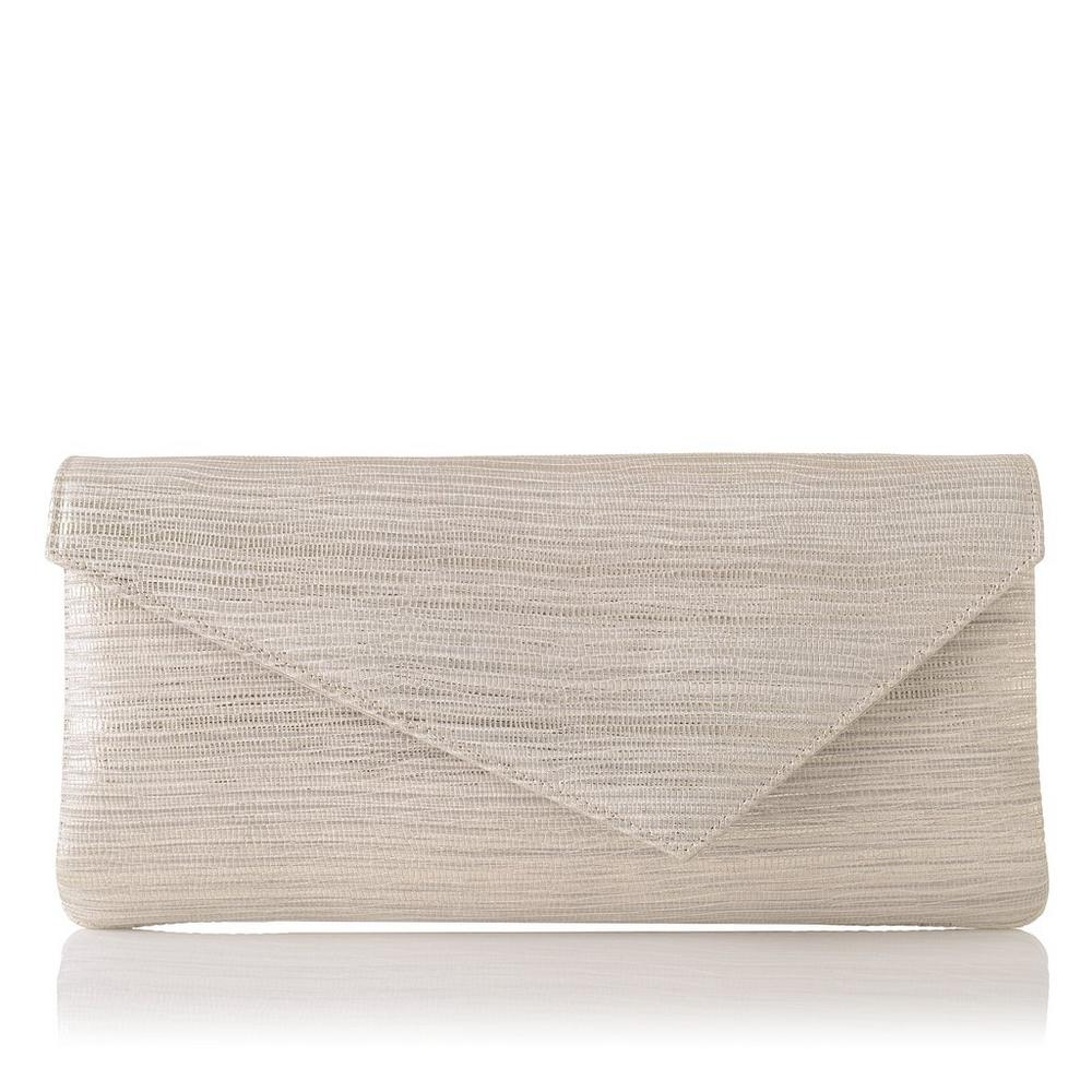 Leonie Cream Metallic Lizard Clutch</a>