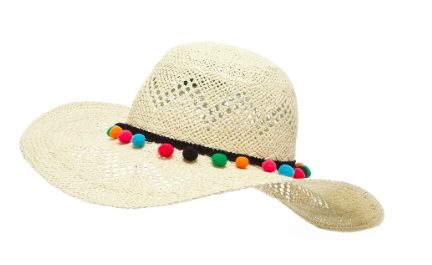 Floozie by Frost French Natural pom pom round sun hat</a>