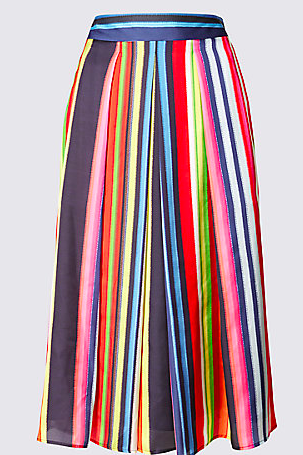 Striped A-Line Midi Skirt</a>