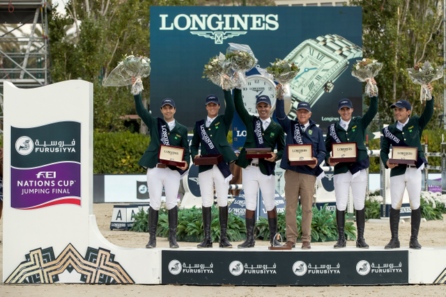 Team Brazil's Rodrigo Pessoa, Stephan de Freitas Barcha, Yuri Mansur and Pedro Veniss, led by Chef d'Equipe Caio Carvalho, won the Longines Challenge Cup to bring the Furusiyya FEI Nations Cup™ Jumping Final 2016 to a close at the Real Club de Polo in Barcelona (ESP). © Dirk Caremans/FEI