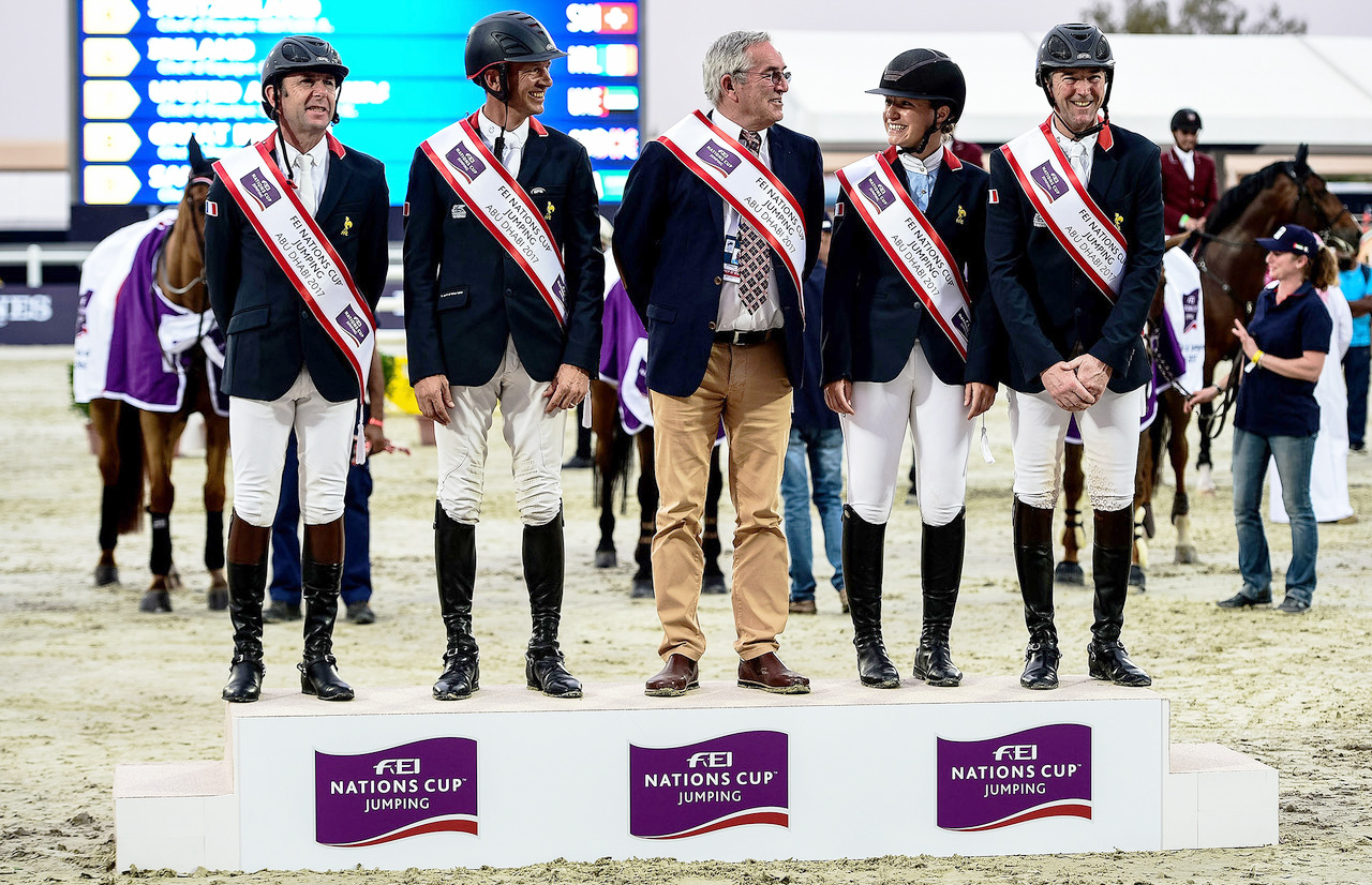 Team France reigned supreme at the opening leg of the FEI Nations Cup™ Jumping 2017 series at Al Ain (UAE). L to R: Frederic David, Philippe Rozier, Chef d'Equipe Philippe Guerdat, Adeline Hecart and Patrice Delaveau. © Martin Dokoupil/FEI