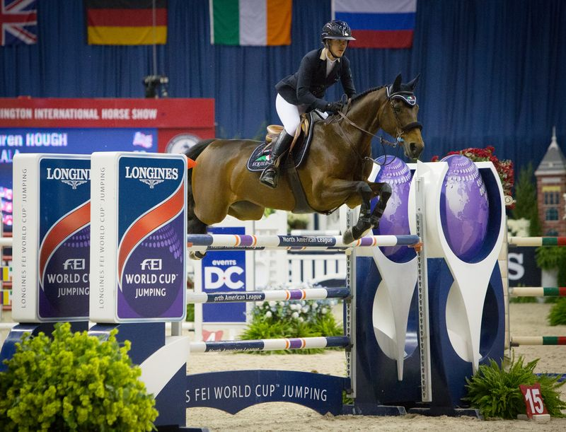 The United States' Lauren Hough and Ohlala capitalize on experience to win the $130,000 Longines FEI World Cup™ Jumping Washington. © FEI/Anthony Trollope
