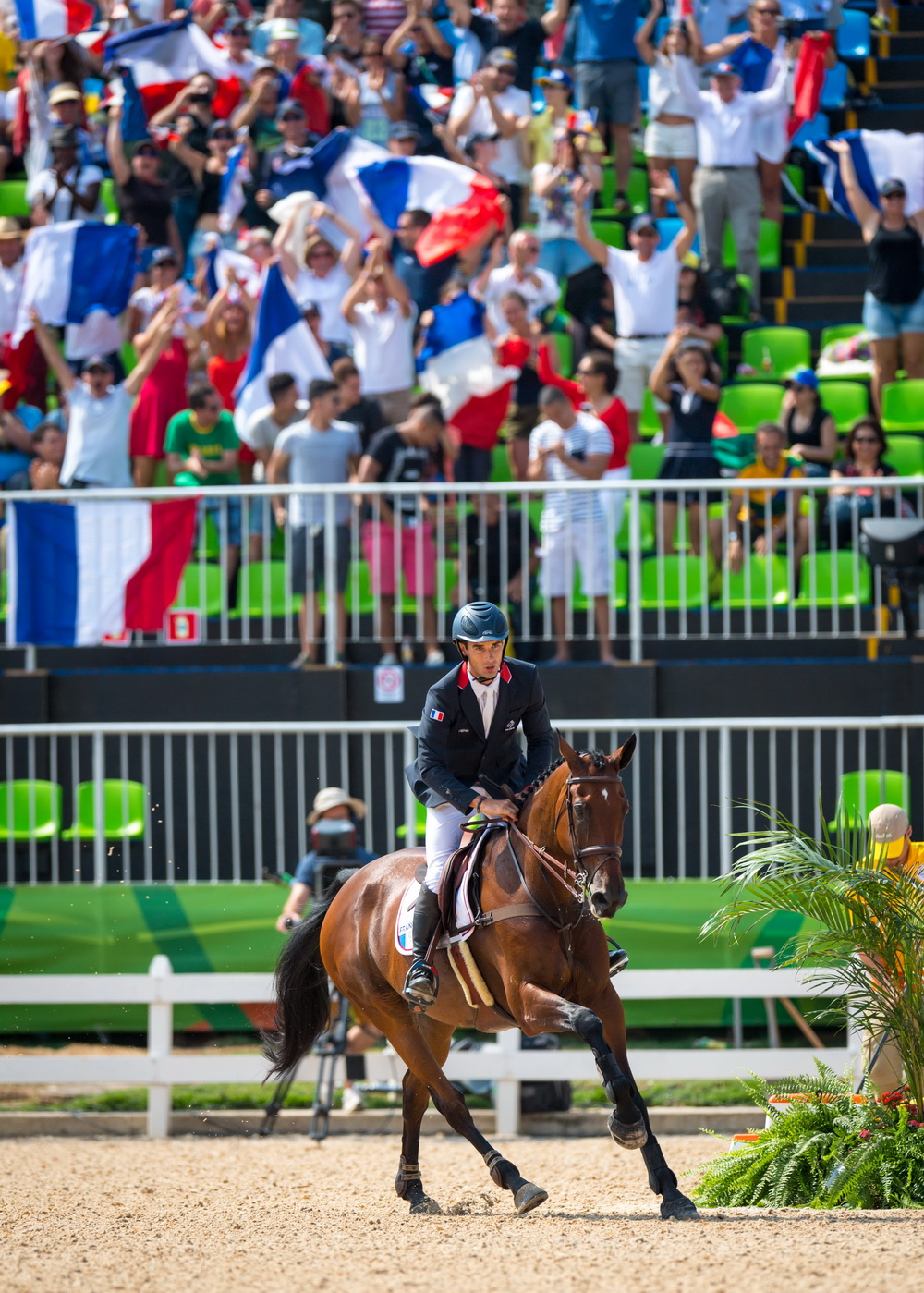 A crucial clear showjumping round from Astier Nicolas and Piaf de B'Neville clinched team gold for France in the Eventing Team Final at Deodoro today, the first gold medal of the Rio 2016 Games for France and only the second medal overall.  © Arnd Bronkhorst/FEI