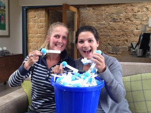 Alice Rocher & Hayley Wright preparing this year's charity 'Fuzzy Bugs'