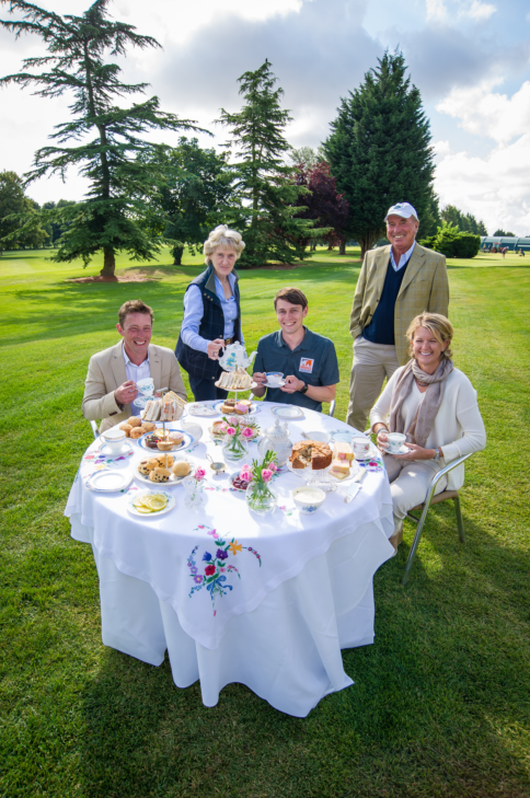 (Left to right) Simon Grieve, event rider |Elizabeth Inman, Event Director for Land Rover Burghley Horse Trials| Jamie Whear, Media Officer at Brooke| Captain Mark Phillips, cross country course Designer| Sarah Coen, event rider © Land Rover Burghley Horse Trials