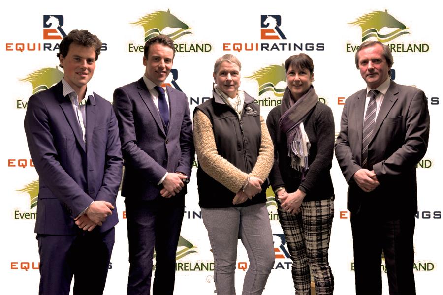 L-R:  Sam Watson (EquiRatings), Diarmuid Byrne (EquiRatings), Georgia Stubington (Vice Chairman Eventing Ireland), Alison Packman (Administration Manager Eventing Ireland), David O'Meara (Chairman Eventing Ireland).