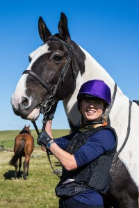 Sara Cox (Radio 2 DJ) with her horse Tetley during The Dartmoor Derby