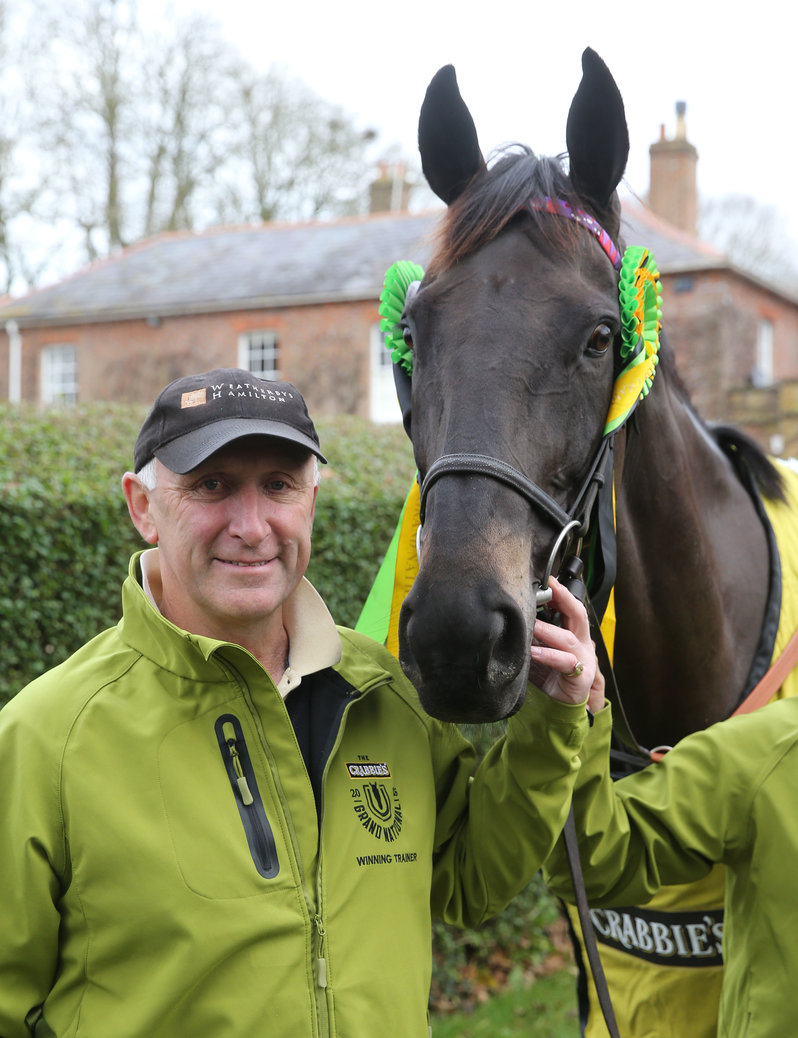 CRABBIES GRAND NATIONAL winner MANY CLOUDS  with trainer Oliver Sherwood at his Lambourm stables 1/12/15 © Grossick Racing Photography 0771 046 1723