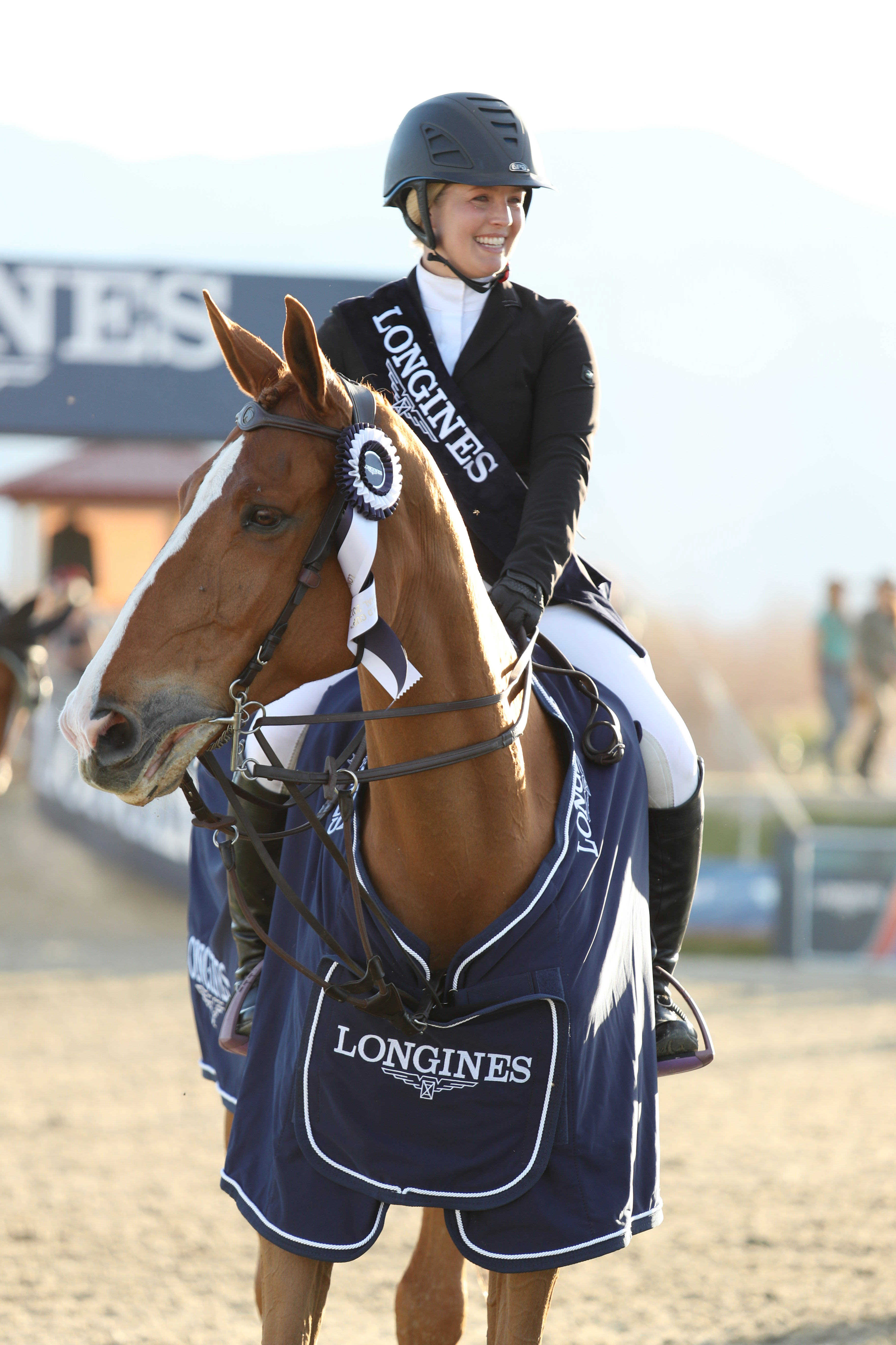 Chela LS ridden by Ashlee Bond (USA) at the Longines FEI World Cup™ Jumping North America league, Thermal. © Kristin Lee/FEI