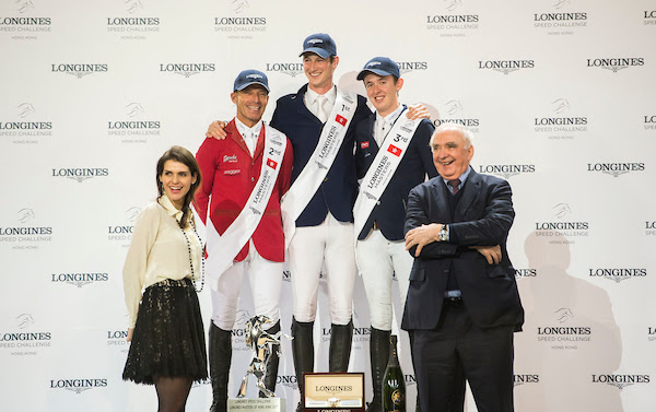 Daniel Deusser of Germany riding Happiness van T Paradijs winner the Longines Speed Challenge, with runner-up Pius Scwhizer of Switzerland riding Leonard de la Ferme CH and third-placed Bertram Allen of Ireland riding Quiet Easy at the Longines Masters of Hong Kong 2017 © Juan Manuel Serrano/Power Sport Images