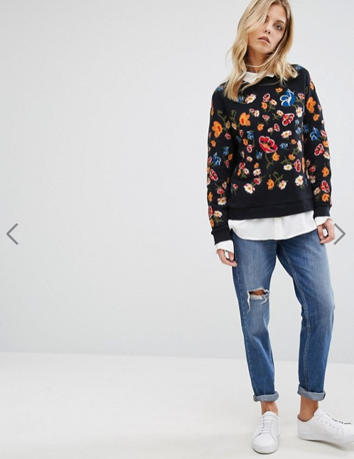 Whistles Embroidered Flower Sweatshirt</a>